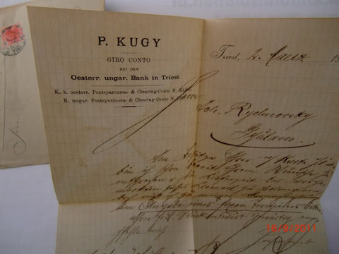 Brief aus dem Handelshaus Kugy in Triest 1905
