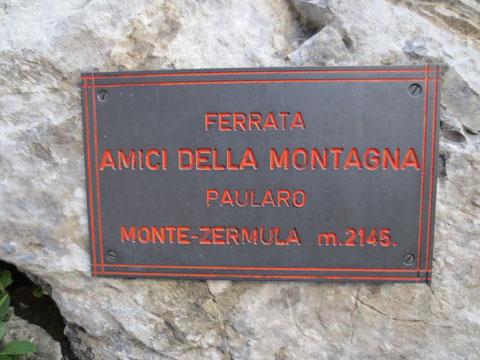 """Einstieg in den Klettersteig """"Amici della Montagna"""" auf den Monte Zermula"""