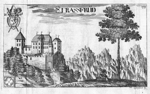 Die noch intakte Burg Straßfried im Jahr 1688 nach einem Stich von Valvasor
