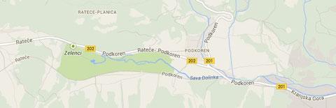 Karte Ursprung Wurzener Save (Zelenci) Google Maps - 130 Jahre später,  2013
