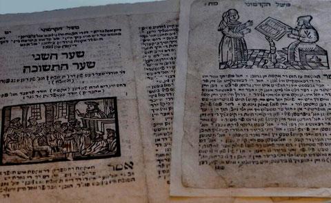 """Aus der Genisa: Blätter aus dem Fabelbuch """"Meshal ha-kadmoni"""" in judendeutscher Sprache, Ausstellung Synagoge Hechingen, Foto: Manuel Werner"""