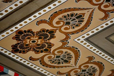 Schablonenmalerei an der Decke der Hechinger Synagoge, Foto: Manuel Werner, alle Rechte vorbehalten!