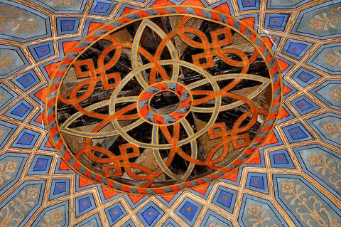 Schnitzwerk im Scheitelpunkt der Kuppel der Synagoge Hechingen. Foto: Manuel Werner, alle Rechte vorbehalten!