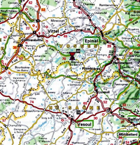 Gruey est sitié sur la route thermale : Plombières, Bains, Vittel, Contrexéville