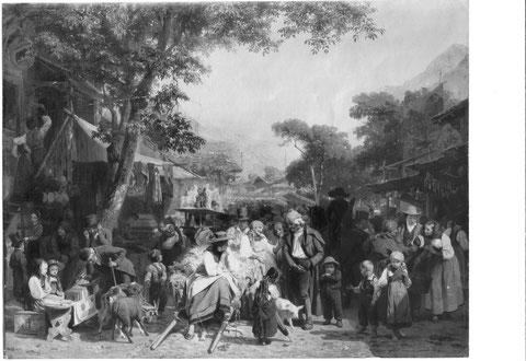 Markt in Brienz Kupferstich Edouard Girardet