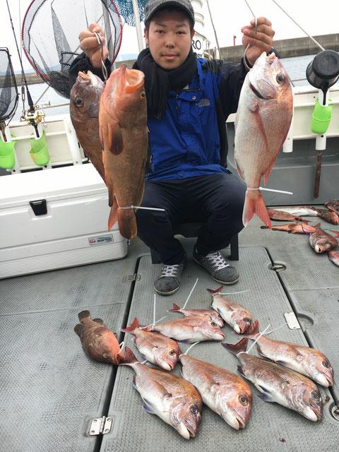 初挑戦で AKO43頭に 鯛10Fish! お見事‼(^^♪