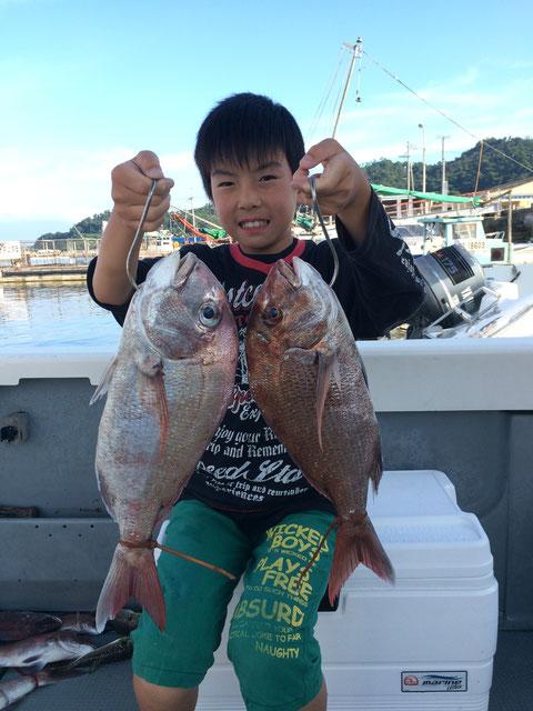 初タイラバで良型2Fish!おじいちゃんと頑張ったね!