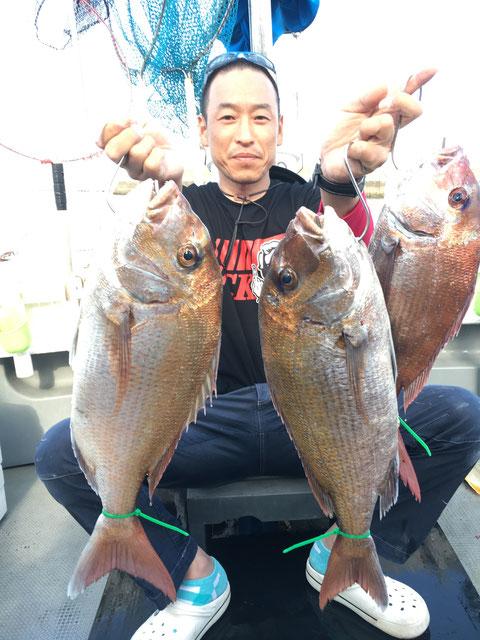 62.0㎝ 60.0㎝‼ 3Fish! ダブルロクマル‼お見事‼(^^♪