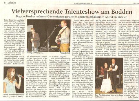 """Artikel im Ostseeanzeiger über Talenteshow im Theater, mit dabei die"""" Liebestöter"""""""