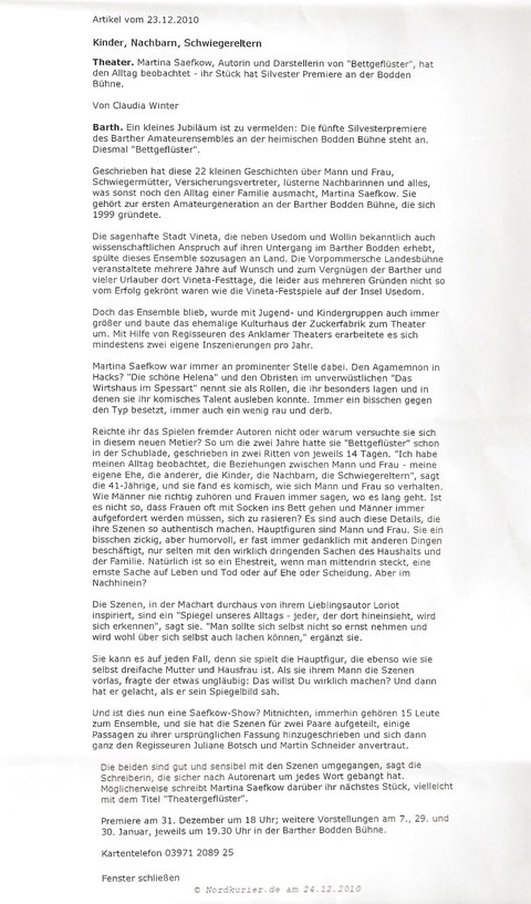Presseartikel im Nordkurier 2010 zum Bettgeflüster