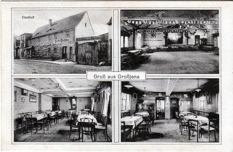 "Gasthof Großjena um 1915""Quelle Postkarten: Hartmut Friedland"""