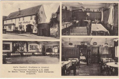 """Hefts Gasthof um 1933 """"Quelle Postkarten: Hartmut Friedland"""""""