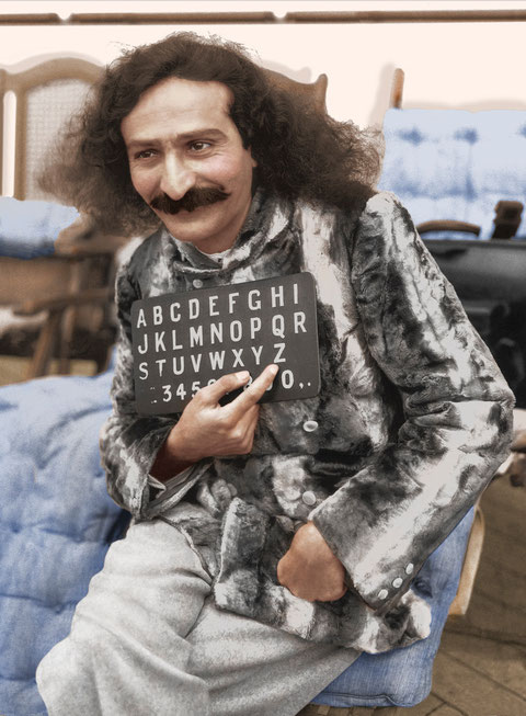 Colourized image of Meher Baba on the SS Bremen