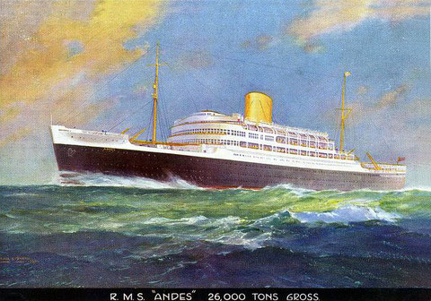 In 1959 the RMS Andes became a cruise ship