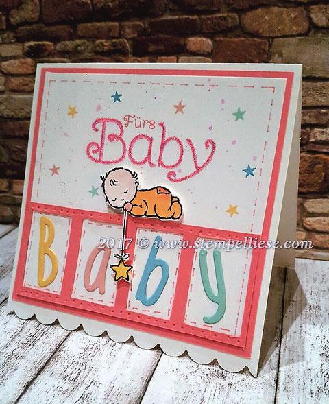 Glückwunschkarte # Geburt #stempelliese.com # Moon Baby # Stampin`Up! # Gutschein # Babykarte # Mädchen