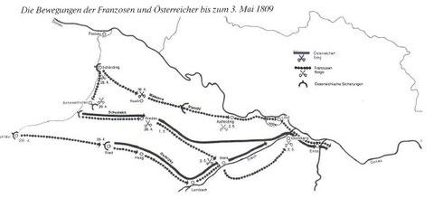 Die Bewegungen der Franzosen und Österreicher bis zum 3. Mai 1809