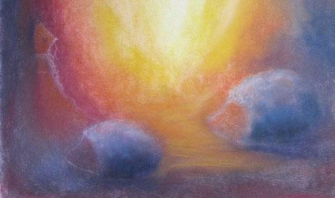 Pastell: Stille Begegnung in der Nacht