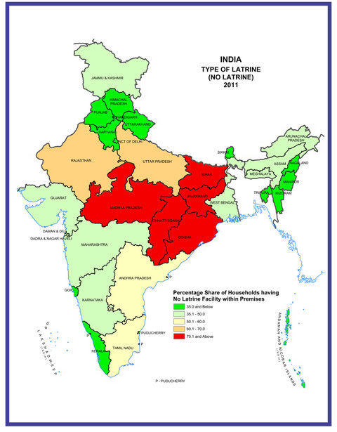 MAP.2  Census 2011 of India:Availability and Type of Latrine Facility:2001-2011より抜粋