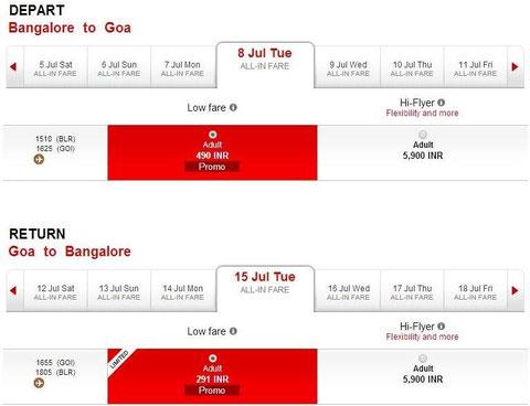 バンガロール・ゴア便は一部490Rs,291Rsなどで販売された模様
