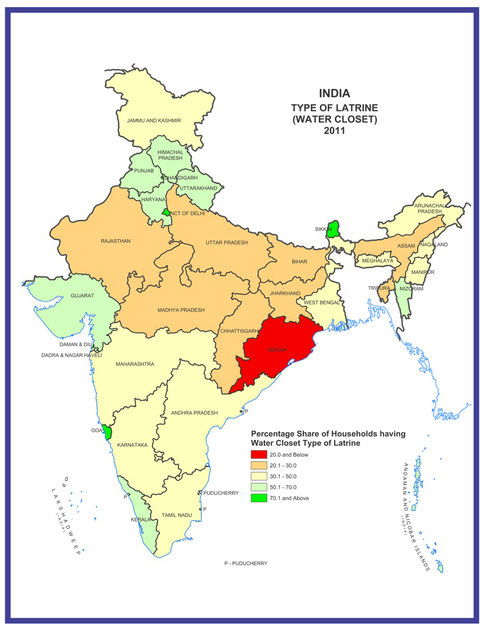 MAP.1  Census 2011 of India:Availability and Type of Latrine Facility:2001-2011より抜粋