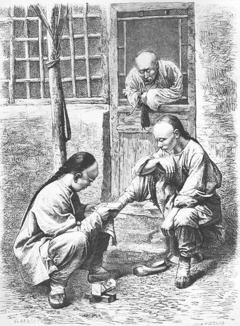 Pédicure ambulant., d'après une photographie du docteur Morache.