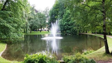 Wasserfontäne im Schloßpark in Oslo