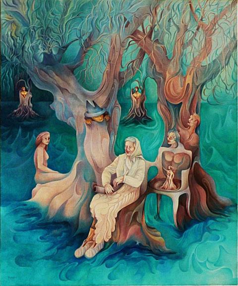 Les Vieux Oliviers. Huile sur toile.65 x 54 cm.