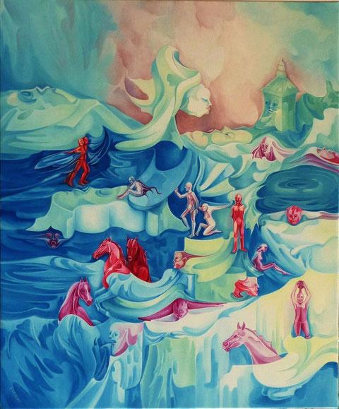 """""""Anges ou Démons ?"""" - """"Fantasmagories"""" - Huile sur toile. 65 x 54 cm. (15 F)."""