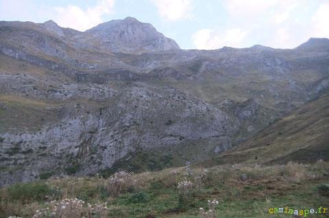 Que la montagne est grande : le troupeau s'élance pour la descente au-dessus du gros rocher !