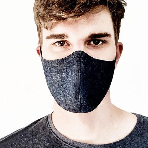 JEANS Mund-Nasen-Maske für Herren aus blauem Jeansstoff