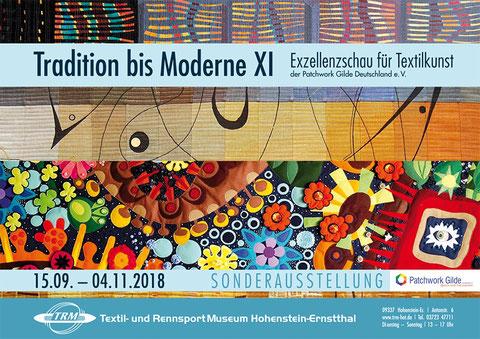 Einladungskarte mit Ausschnitten von Quilts, darunter auch mein Quilt Virtual Reality zur Sonderausstellung im Textil und Rennsportmuseum Hohenstein Ernstthal.