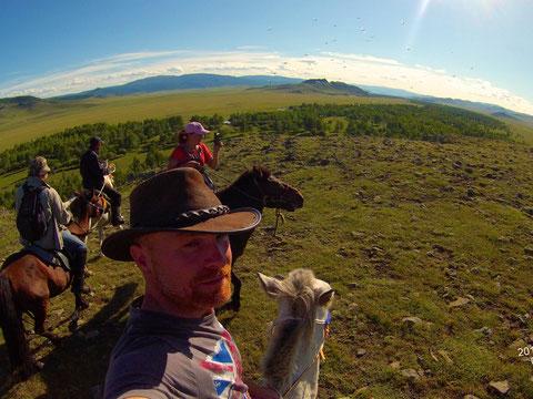 Groupe à cheval monts Khangai centre Mongolie