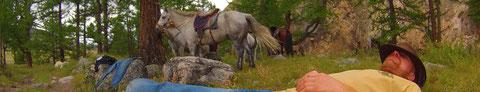 Petite pause en groupe à cheval Mongolie