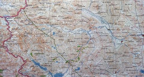 """La carte papier de l'ouest Mongolie """"d'Olgy"""" à la réserve du """"Tavan Bogd"""""""