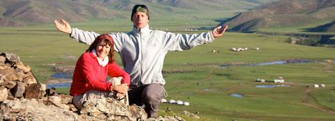 Ascension sur les hauteurs du Khangai avec la vue sur l'Orkhon