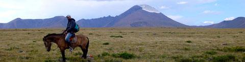 A cheval traversée d'alpage sur un plateau d'altitude.