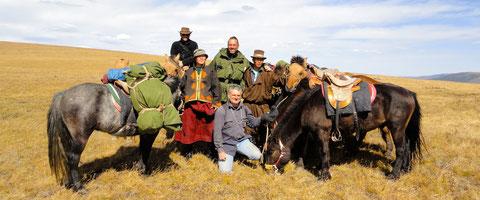 L'équipe de expédition trappeur Mongolie