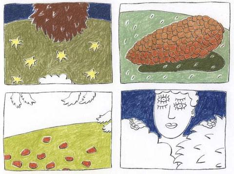 Ohne Titel, zu ANRUFUNG DES GROSSEN BÄREN von Ingeborg Bachmann, 2013, Kreide und Farbstift auf Papier, 18 x 24 cm