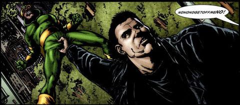 Este golpe nunca se lo veréis al Capitán América, ¡je, je, je!