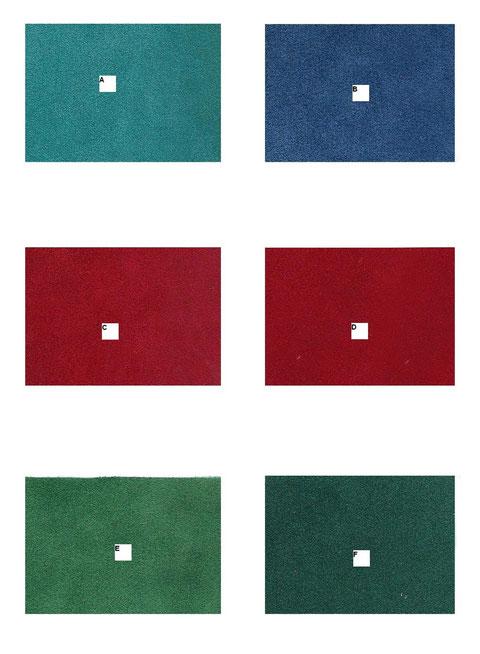 A: Turquoise; B: Bleu Roi; C: Rouge Brique; D: Rouge Vif; E: Vert  clair; F: Emeraude .
