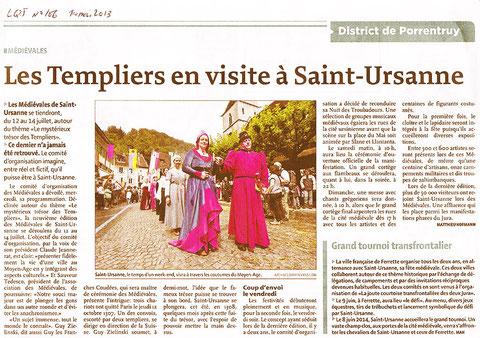 Article d'annonce des Médiévales de St Ursanne