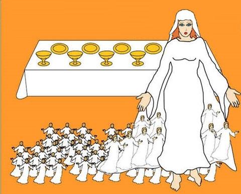 Jésus et son épouse spirituelle: les 144 000 chrétiens oints ou Jérusalem céleste règneront avec justice sur la terre.