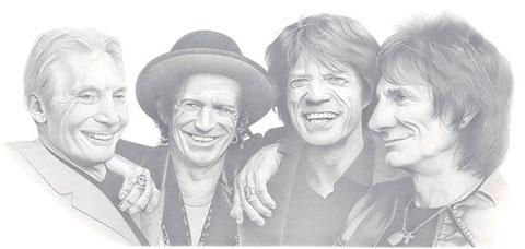 The Rolling Stones, Bleistift, 60x40cm, gerahmt