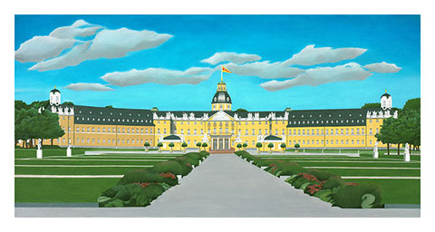 Karslruher Schloss, Öl auf Leinwand by Joachim Thiess