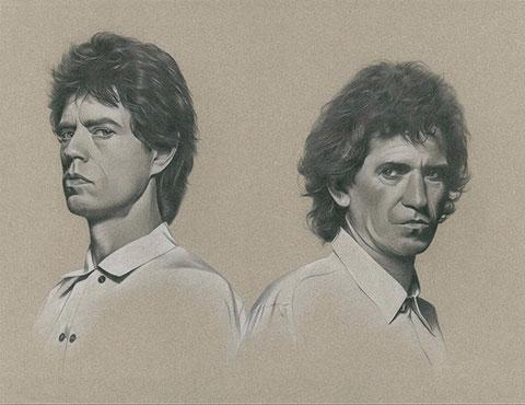 Jagger/Richards, Pastell, 61x75cm, gerahmt