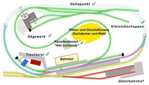 geplante Lage der Wohn- und Wirkungsstätte des Dachdeckers auf der Anlage
