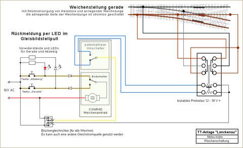 """elektrische Schaltung der Weichenantriebe in """"Lanckenau"""""""