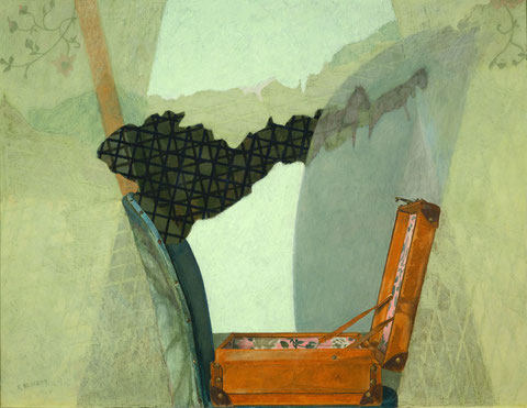 francois beaudry, mixed-media painting, pastel watercolor egg tempera, chair suitcase, chercheur de tresors series