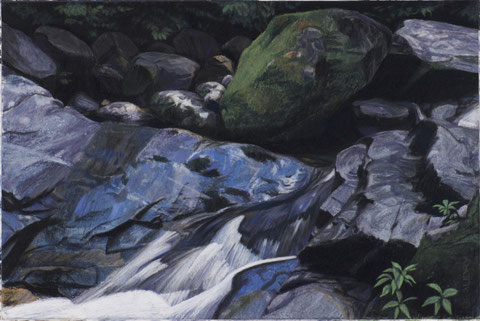 francois beaudry pastel and watercolor painting landscape water rocks via appalachia series 5