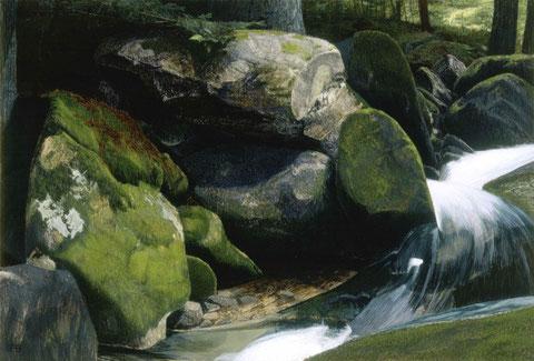 francois beaudry tempera peinture tableau paysage chien série via appalachia 1